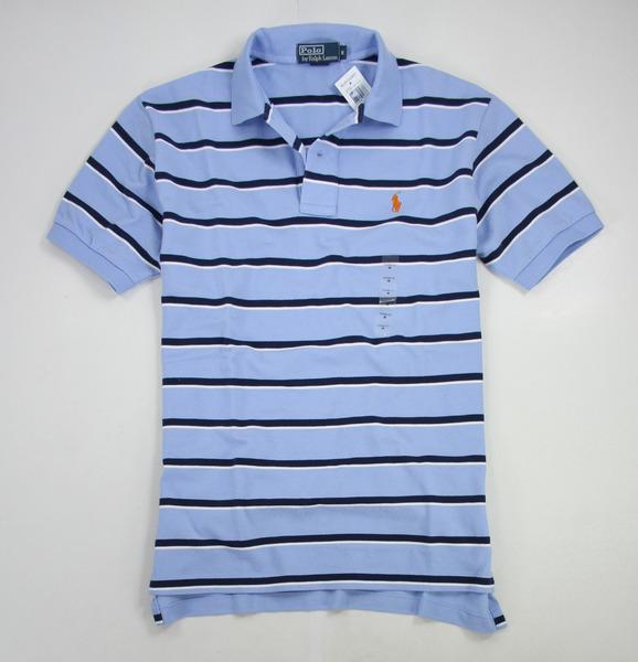 美國百分百【全新真品】Ralph Lauren RL 橘馬 休閒風 雙條紋 短袖 Polo衫 藍色 男生 上衣 M號
