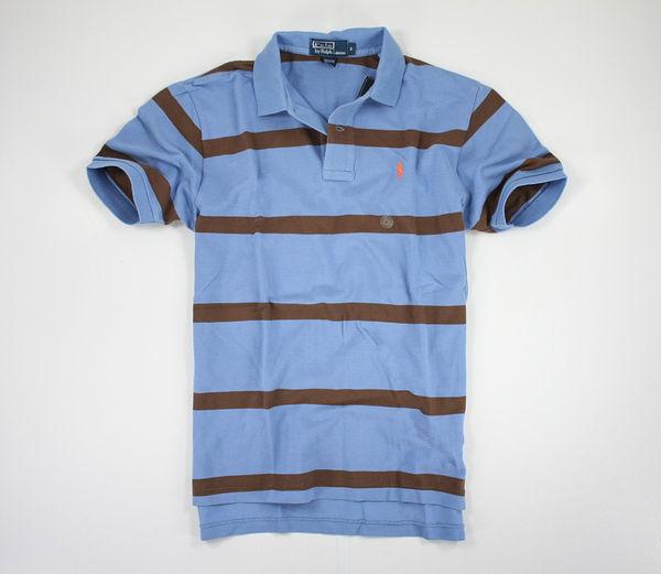 美國百分百【全新真品】Ralph Lauren 男生 RL 特色 咖啡 藍 條紋 短袖 上衣 polo衫 S號 超取