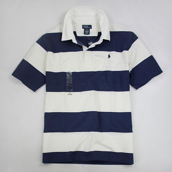 美國百分百【全新真品】Ralph Lauren RL 純棉款 條紋 短袖 Polo衫 藍白色 S號 板橋門市 免運 C203