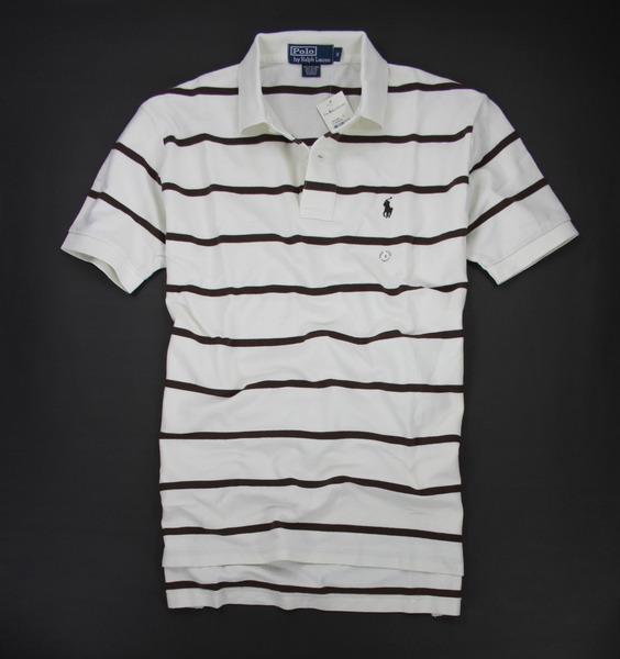 美國百分百【全新真品】Ralph Lauren RL 男 休閒 條紋 好搭 短袖 polo衫 米白 咖啡 小馬 M號