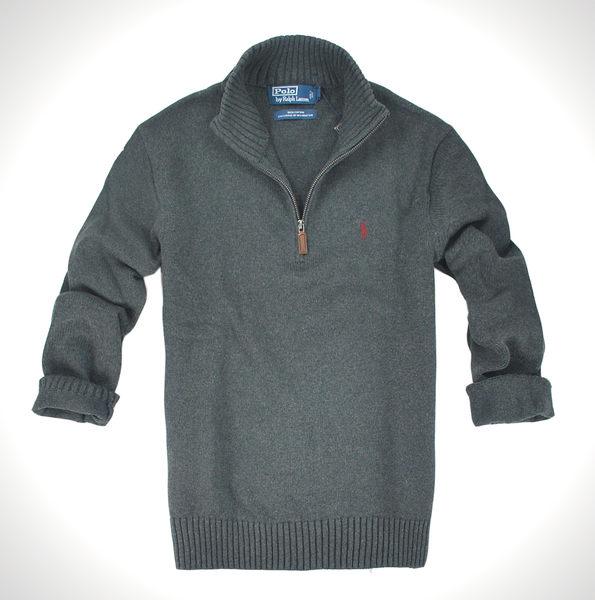 美國百分百【全新真品】Ralph Lauren RL polo 男款 毛衣 半拉 夾克 針織衫 鐵灰 上衣 S M L XL