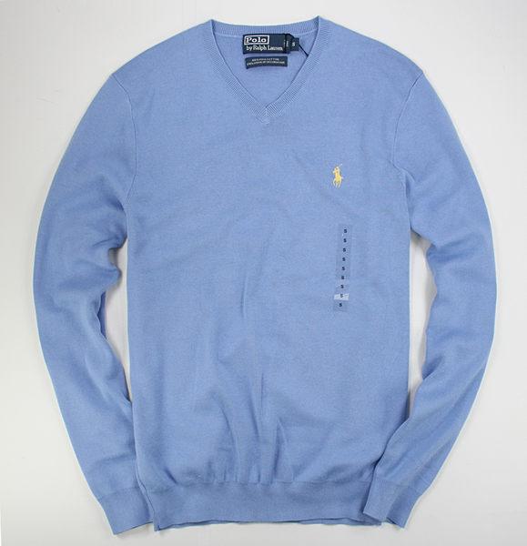 美國百分百【全新真品】Ralph Lauren RL POLO 男 V領 純棉 上衣 針織衫 薄毛衣 藍色 S M號