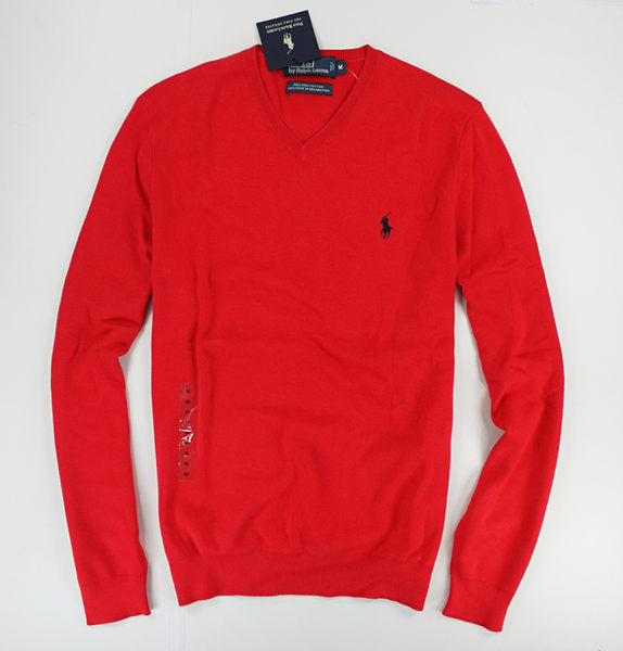 美國百分百【全新真品】Ralph Lauren POLO 小馬 紅色 毛衣 針織衫 毛線衣 RL 男 V領 M L號 免運