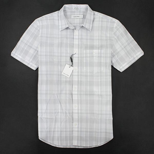 美國百分百【全新真品】Calvin Klein CK 夏季 男生 短袖 淺灰 格紋 襯衫 S L XL號 板橋門市