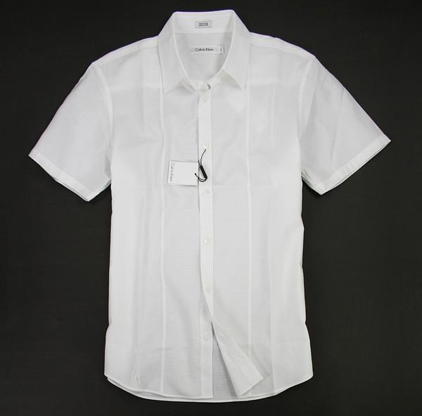 美國百分百【全新真品】Calvin Klein CK 短袖 白襯衫 格子 花紋 設計 質感 上班 工作 穿搭 M