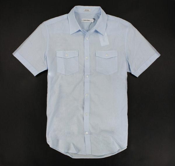 美國百分百【全新真品】Calvin Klein CK 圓點 造型 夏季 短袖 襯衫 雙口袋 淡水藍色 S M號
