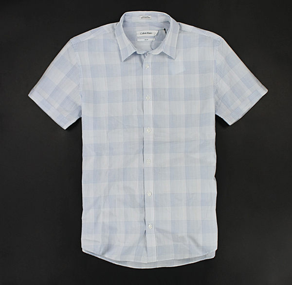 美國百分百【全新真品】Calvin Klein CK 淡藍格紋 夏季 輕薄涼爽 短袖襯衫 白色 S M L XL號 現貨
