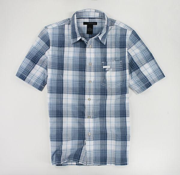 美國百分百【全新真品】Calvin Klein CK 男款 短袖 上衣 格紋 襯衫 S M 號 藍色系 超取