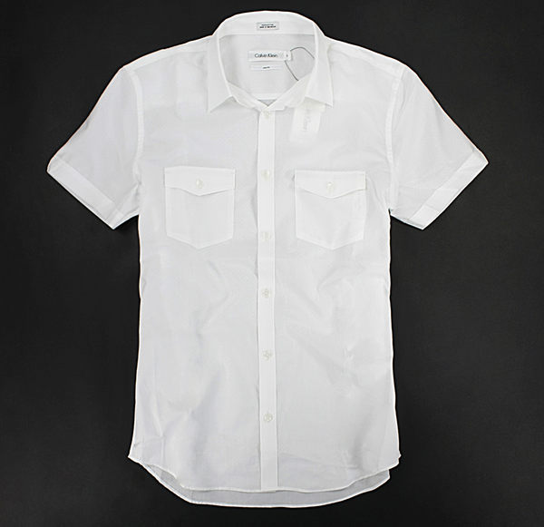 美國百分百【全新真品】Calvin Klein CK 夏天 花紋 印花 短袖 襯衫 上衣 雙口袋 白色 S M 窄版