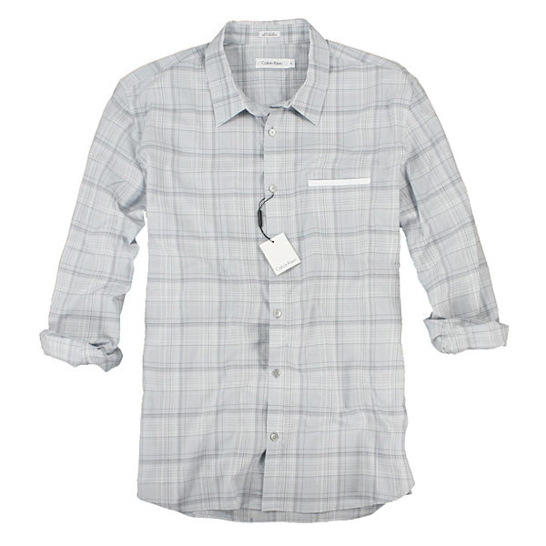 美國百分百【全新真品】Calvin Klein 紳士 西裝風口袋 夏季 輕薄款 格紋 長襯衫 藍灰 M XL號 Ck