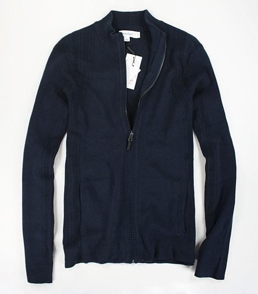 美國百分百【全新真品】Calvin Klein 男 針織 棉質 春季 小立領 薄外套 夾克 外衣 深藍 S號 CK