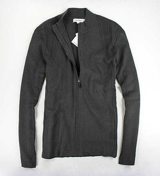 美國百分百【全新真品】Calvin Klein CK 線條 紋路 針織 春季 薄外套 拉鍊 外衣 罩衫 墨綠 L