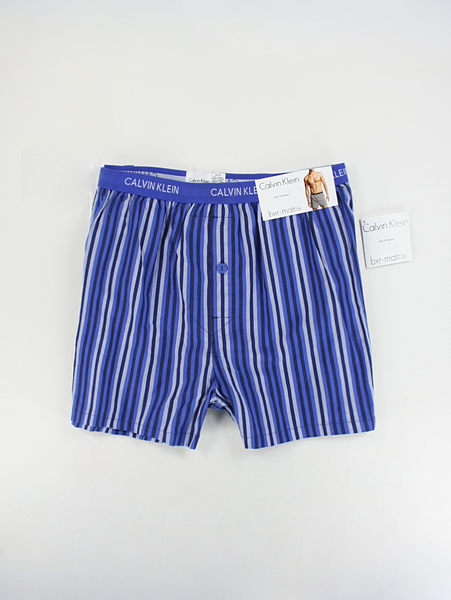 美國百分百【全新真品】Calvin Klein CK 大尺寸 尺碼 條紋 格紋 配色 男 四角褲 平口內褲 L XL