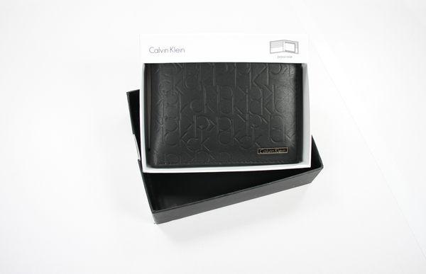 美國百分百【全新真品】Calvin Klein CK 型男 小牛皮 皮夾 錢包 皮包 ck 字樣 logo壓紋 黑色
