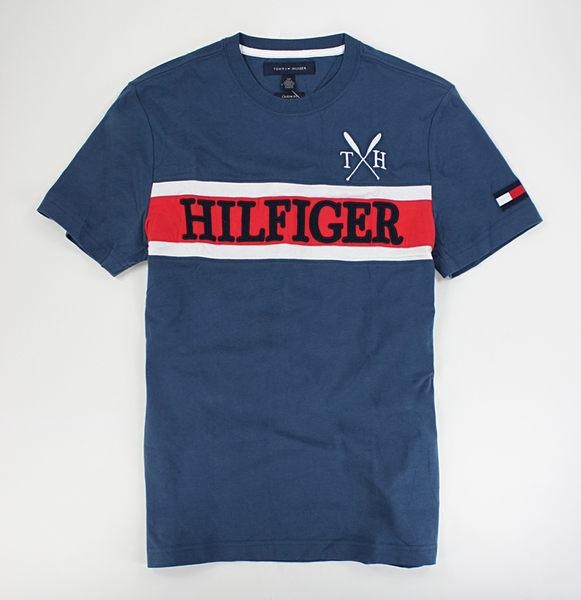 美國百分百【全新真品】Tommy Hilfiger TH 男 配色 顯色logoT 短袖 T恤 Tshirt Tee 復古藍 XS號