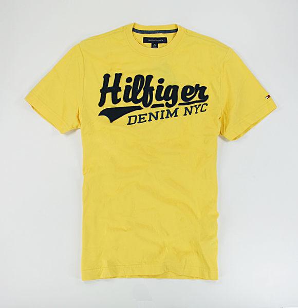 美國百分百【全新真品】Tommy Hilfiger TH 貼布 草寫 文字 字母 短袖 T恤 T-shirt 亮黃色 XS號