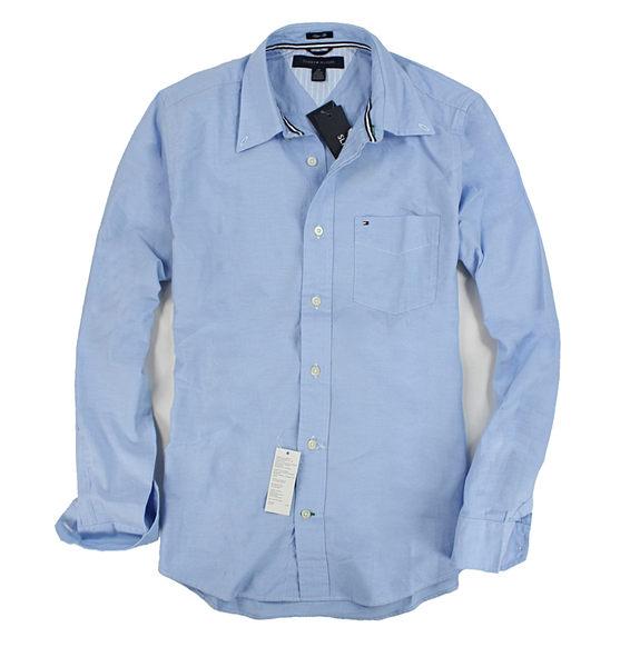 美國百分百【全新真品】Tommy Hilfiger TH 男 長袖 襯衫 素面 口袋 藍色 L號 超取