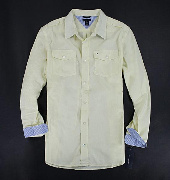 美國百分百【全新真品】Tommy Hilfiger 雙口袋 條紋搭色 男 長袖 襯衫 上衣 淡黃色 XS號 TH