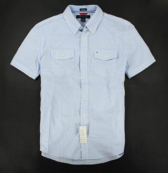 美國百分百【全新真品】Tommy Hilfiger TH 弧形雙口袋 條紋 合身 男 短袖 襯衫 藍色 S M L號