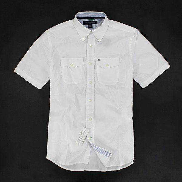 美國百分百【全新真品】Tommy Hilfiger 夏季 白色 素面 短袖襯衫 撘配牛津 弧形口袋 S M號 TH