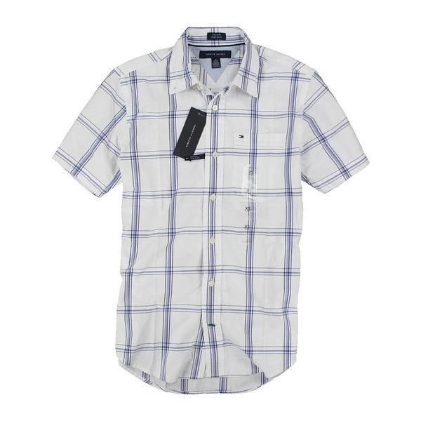 美國百分百【全新真品】Tommy Hilfiger TH 男生 夏季 短袖 格紋 襯衫 白色 XS M 合身版 可超取