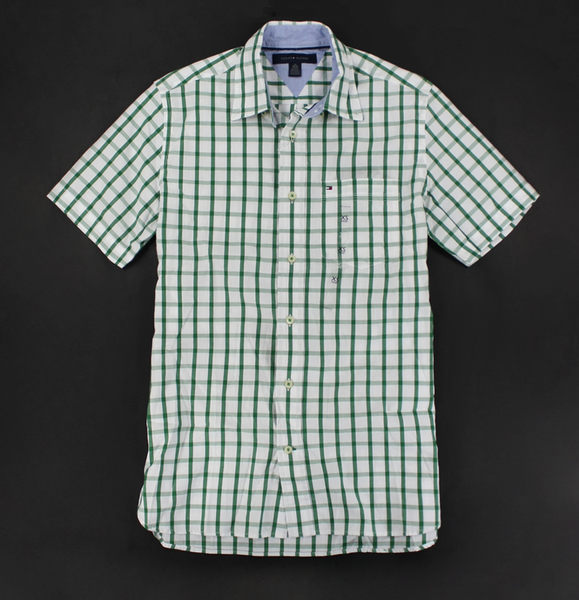 美國百分百【全新真品】Tommy Hilfiger TH 漸層綠 格紋 短袖 襯衫 上衣 男衣 XS S號 現貨 超取