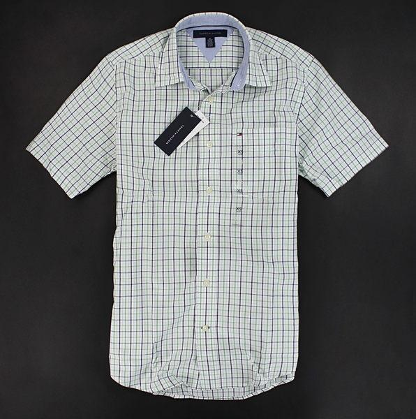 美國百分百【全新真品】Tommy Hilfiger TH 春夏 休閒 工作 格紋 短袖 襯衫 上衣 白色 XS號 超取