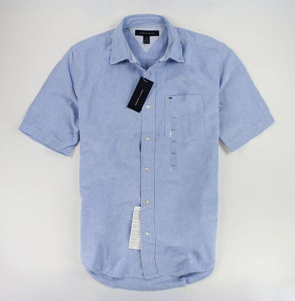 美國百分百【全新真品】Tommy Hilfiger TH 經典款 牛津布 素面 短袖 襯衫 男衣 口袋 藍色 S號