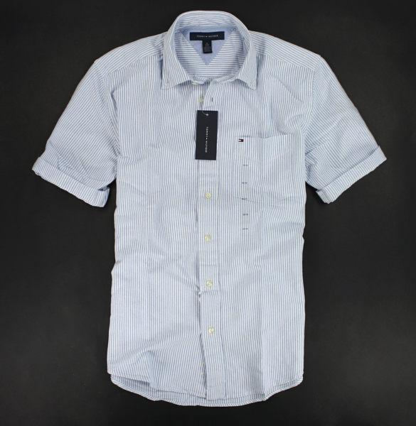 美國百分百【全新真品】Tommy Hilfiger TH 牛津 厚挺 質感 男款 條紋 短袖 襯衫 淺藍 XS S號