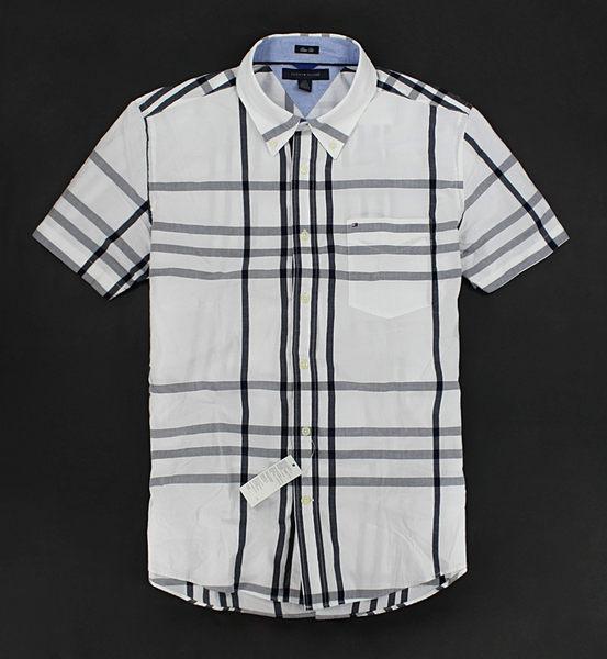 美國百分百【全新真品】Tommy Hilfiger TH 大格紋 灰白色 男生 短袖 襯衫 上衣 L號 超取