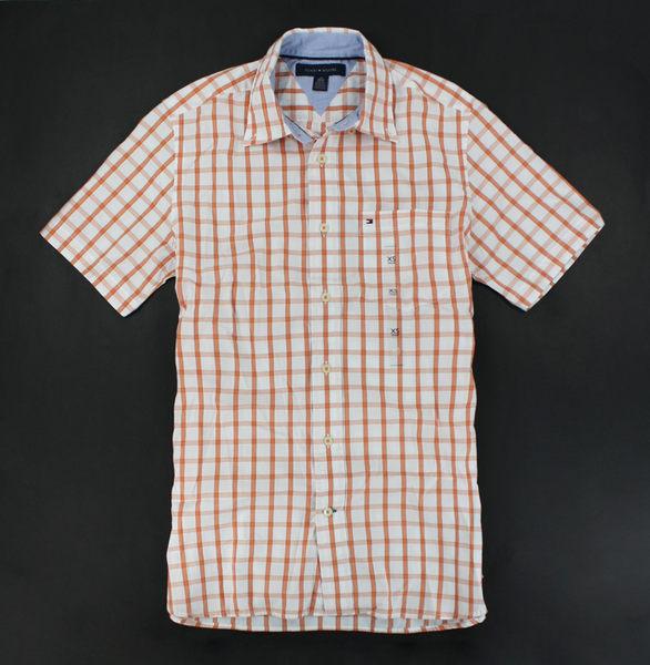 美國百分百【全新真品】Tommy Hilfiger TH 漸層橘 格紋 短袖 襯衫 上衣 男衣 XS號 超商取貨
