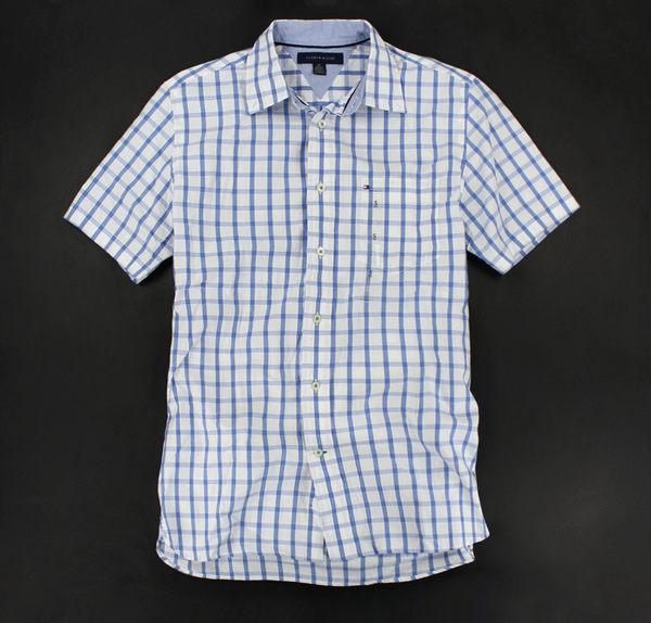 美國百分百【全新真品】Tommy Hilfiger TH 漸層藍 格紋 短袖 襯衫 上衣 男衣 S號 超商取貨