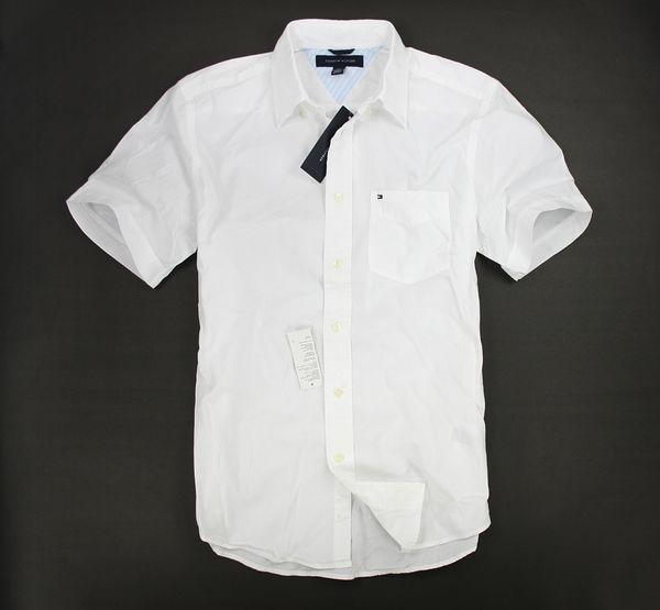 美國百分百【全新真品】Tommy Hilfiger 春夏款 男 素面 短袖 襯衫 薄 上衣 TH 白色 XXL號 超取