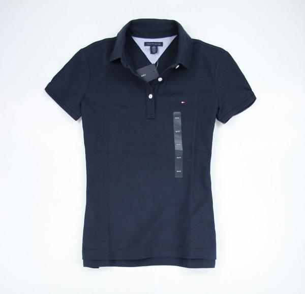 美國百分百【全新真品】女生 Tommy Hilfiger 網眼 短袖 POLO衫 深藍色 顯瘦款 XS S M號 TH