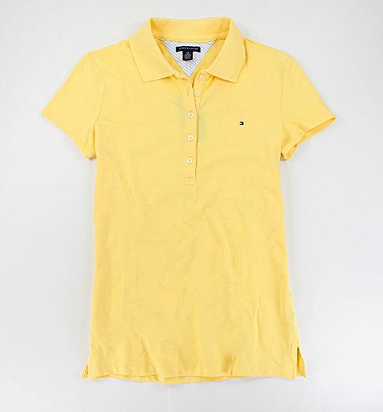 美國百分百【全新真品】Tommy Hilfiger TH 女生 亮黃色 短袖 polo衫 休閒 上衣 素面 S號 免運