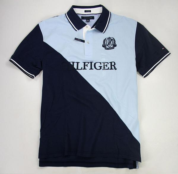 美國百分百【全新真品】Tommy Hilfiger TH 深淺藍 特色 圖案 logo 休閒 大尺碼 Polo衫 L號