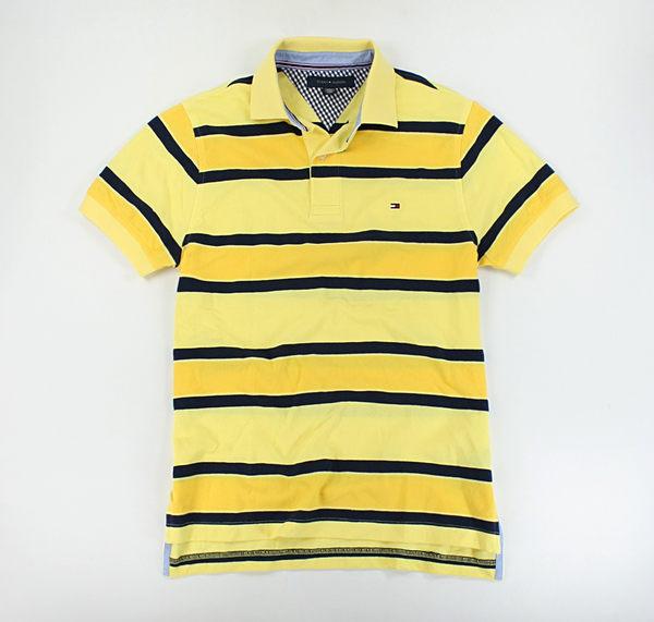美國百分百【全新真品】Tommy Hilfiger 男 休閒 上衣 網眼 條紋 特色 黃色 polo衫 TH XS S號