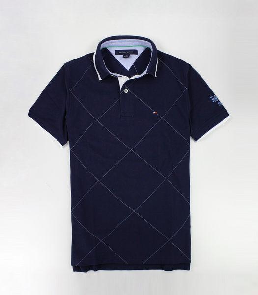 美國百分百【全新真品】Tommy Hilfiger TH 男 短袖 POLO衫 上衣 菱格紋 深藍 特殊領 縫字 XS號