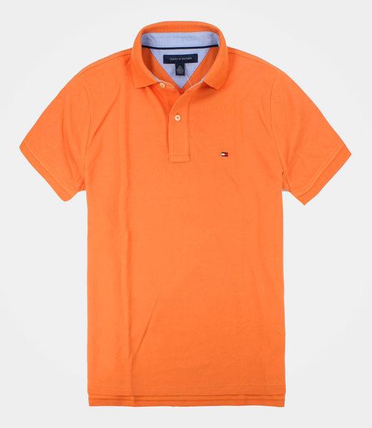 美國百分百【全新真品】Tommy Hilfiger TH 男 短袖 POLO衫 上衣 素面 活力橘 特殊領 超取 XS號