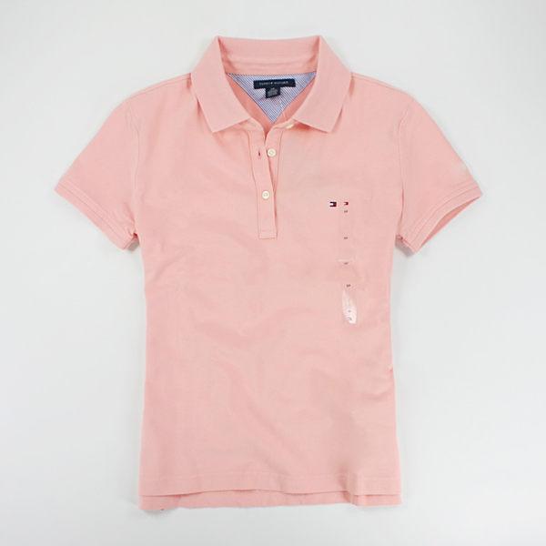 美國百分百【全新真品】Tommy Hilfiger 女 短袖 素面 POLO衫 糖果系 馬卡龍色 粉膚 粉綠 S號