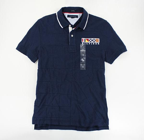 美國百分百【全新真品】Tommy Hilfiger TH 男生 拼布 特色 設計款 短袖 網眼 polo衫 深藍 S號