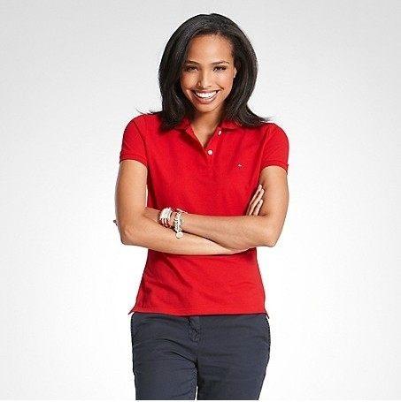 美國百分百【全新真品】女生 Tommy Hilfiger 網眼 短袖 POLO衫 紅色 腰身 休閒 XS S M號 TH 代購