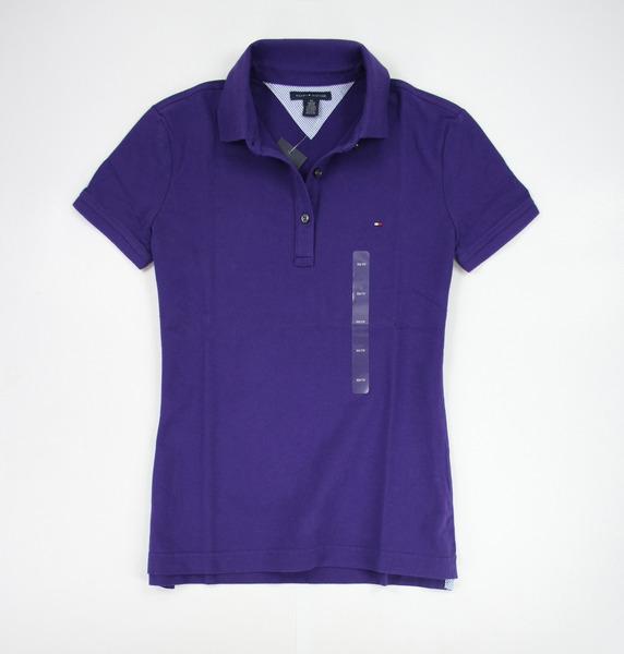 美國百分百【全新真品】Tommy Hilfiger TH 女生 短袖 上衣 POLO衫 專櫃款 深紫色 XS 號 超取
