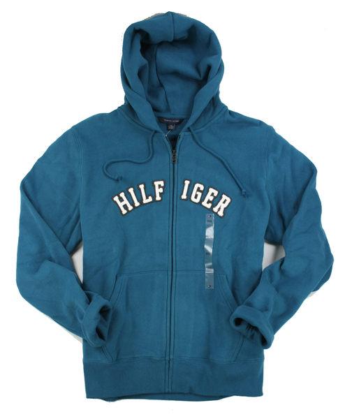 美國百分百【全新真品】Tommy Hilfiger TH 男 休閒 連帽外套 藍 綠色 帽T 厚 棉質 超取 XL號
