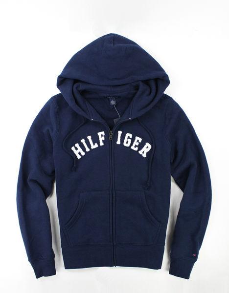 美國百分百【全新真品】Tommy Hilfiger TH 女 深藍 長袖 M號 夾克 連帽 外套 帽T 超取 經典色