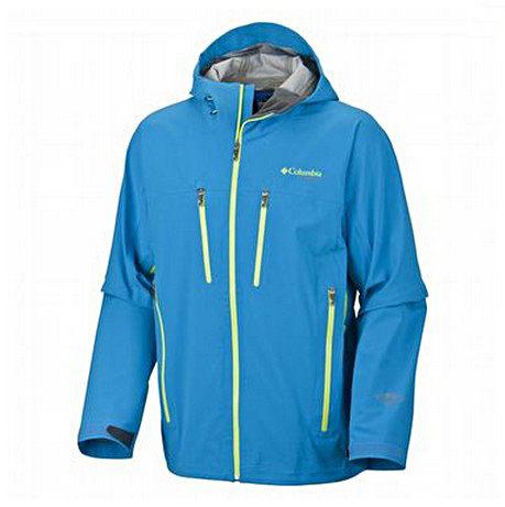 美國百分百【哥倫比亞】Columbia omni gore-tex等級 男 薄防水夾克 外衣 風衣 連帽外套 水藍 S號
