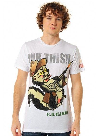 美國百分百【全新真品】ED HARDY 男T 短Tee 西部牛仔 松鼠 文字 圖案 水鑽 白色 T恤 T-shirt S號