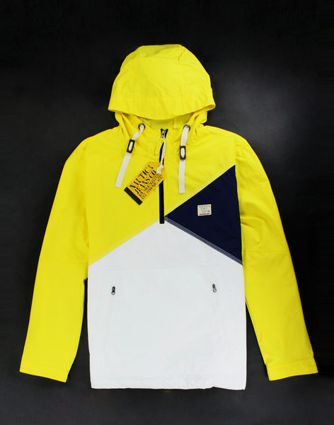 美國百分百【全新正品】NAUTICA 男 帆船牌 連帽外套 風衣 夾克 擋風 防潑 白 黃色 L號 超取