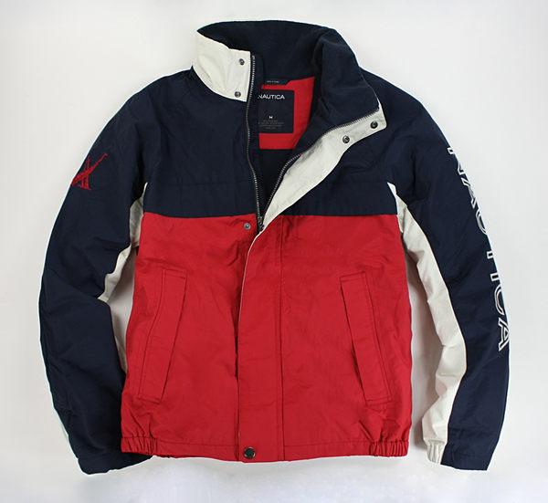 美國百分百【全新真品】Nautica 帆船logo 三色 立領 防寒 外套 鋪棉 保暖 男 大衣 夾克 紅藍 M