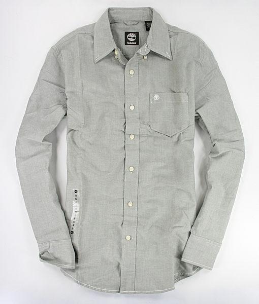 美國百分百【全新真品】Timberland 男生 純棉質 灰色 長袖 素面 襯衫 口袋 上衣 M號 板橋門市